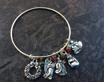 Christmas Adjustable Bangle Bracelet with Tierracast pewter charms and Czech glass charms Elegant Christmas Charm bracelet Holiday  Jewelry