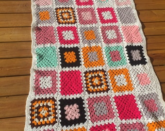 Crocheted Granny Square Afghan Throw Blanket - Vintage