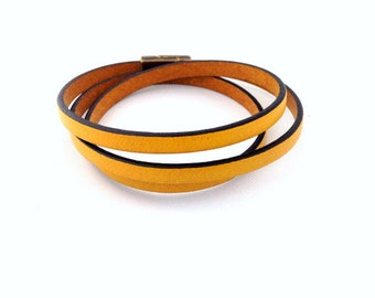 Mustard Skinny Triple Leather Wrap Bracelet. Magnetic Clasp