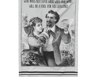 Wine Tea Towel, Gift Idea for Wife, Wine Wife Song, Home Tea Towel, Kitchen Towel, Kitchen Dish Cloth, Kitchen Linens, Wine Towel, Bar Towel