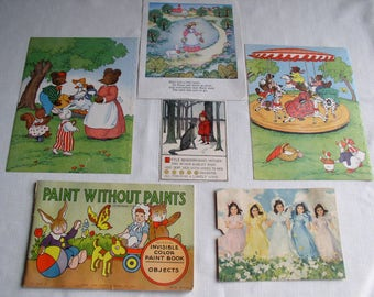 Ephemera Lot Children's Vintage Items, Vintage Children's Book Illustrations, Nursery Decor,