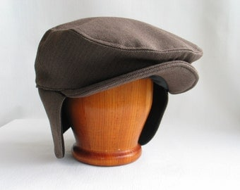 Cabbie Hat with Ear Flaps, Brown Herringbone Newsboy Hat Ear Flaps, Men's Dressy Driving Hat, Toddler Brown Dress Hat With Ear Covers