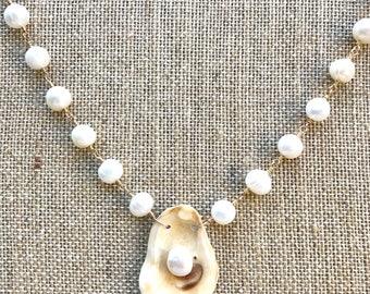 Oyster and Pearl 14k Gold Filled Necklace