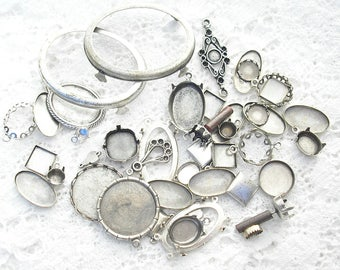 DeStash Lot of Assorted Antiqued Silver Settings