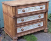 Bespoke chunky chest of large rustic solid wood antique vintage drawers with hand painted willow arts and crafts design.