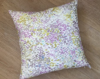 WATER COLOURED inspired design of trees in modern colour palette of violet purple and sulphur yellow green statement a SQUARE cushion cover.