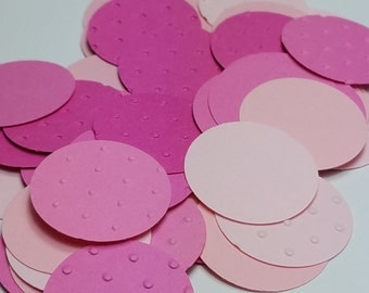 Shades of Pink Baby Shower Polka Dot Embossed Circle Table Scatter/Confetti, Paper Party Decor- 250 pc