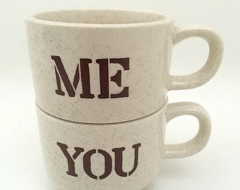 Vintage Coffee Mug - His and Hers Coffee Cup - Personalized Coffee Mug - Pottery Teacup - Ceramic Tea Cup