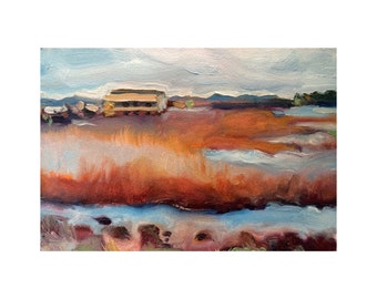 5x7 inch Print of Original Oil Painting of a Marshland Near Mosslanding, California from Highway 1