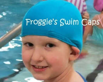 Lycra SWiM CaP - CERULEAN BLUE - Sizes - Baby , Child , Adult , XL - Made from Spandex / Swimsuit Swimming Fabric -by Froggie's Swim Caps