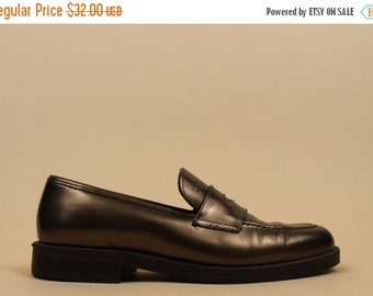 20% OFF 1DAY SALE 90s Vtg Metallic Bronze Penny Loafer Slip On Tommy Hilfiger Low Platform Heel Oxford / Mod Minimalist 7 Eu 37.5