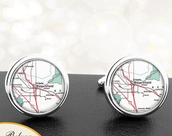 Maps Destination Cufflinks Bakersfield California Groomsmen Wedding Party Fathers Dads Men