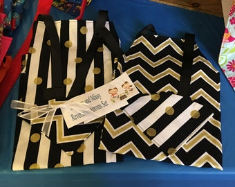 Mommy and Sissy Reversible Apron Set Black White Gold