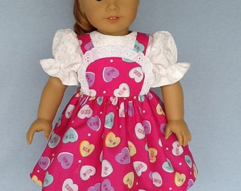 18 inch doll  Valentine's Day dress. Fits American Girl dolls. Pink candy heart print.