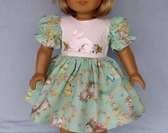 18 inch doll Easter dress and hair clip.  Fits American Girl Dolls.  Green Easter print and embroidered bunny.