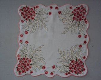 Vintage Scalloped Hanky  ~~ Lily of the Valley Roses