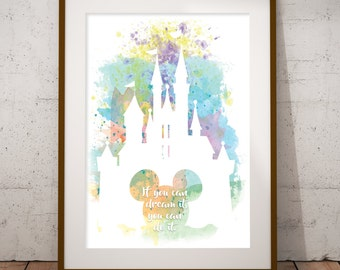 Dream It Disney Castle Walt Quote Wall Art Print Printable digital instant download if you can dream it you can do it