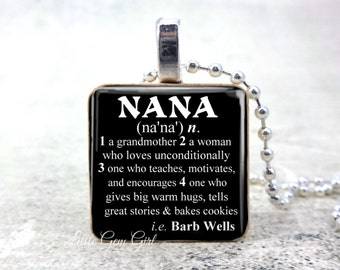 Nana Necklace Pendant CUSTOM NAME Dictionary Definition - Personalized Mothers Day Jewelry - Nana Key Chain Charm