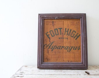 Vintage Crate Sign Foot High Brand Asparagus Wooden Framed Farm Sign Artwork Rustic Decor Farmhouse