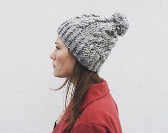 Chunky gray knit hat/ Toque/ Romilly/ beanie