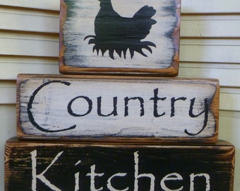 Country Kitchen Blocks Black & White Chicken Wood Hand Painted Primitive
