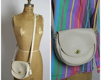 Vintage Coach Messenger Bag // Ivory Leather Coach Purse