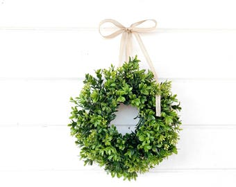 MINI Boxwood Wreath-Window Wreath-Boxwood Wreath-Country Cottage Wreath-Artifical Boxwood Wreath-Wall Hanging-Small Wreath-Custom Made Gifts