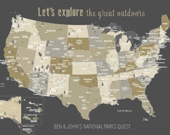 Us Push Pin Map With National Parks 59 Np Map Foam Mounted Usa Parks