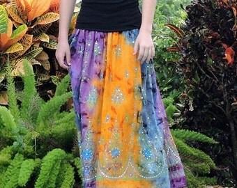 ON SALE Tie Dye Skirt, Gypsy Skirt, Maxi Skirt, Bohemian Skirt, Festival Clothing, Fall Skirt, Sequin Skirt, Indian Skirt, Boho Clothing, Lo