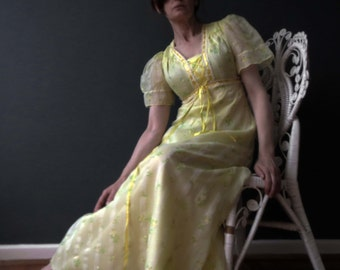 70s Lemon Yellow Floral Maxi Dress Dolly Boho Small