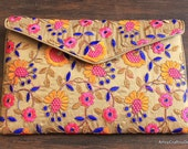 Recycled Multi-Colored Floral Design Fabric Trim Clutch-Recycled Embroidered Fabric Trim Clutch-Recycled Sari Border Trim