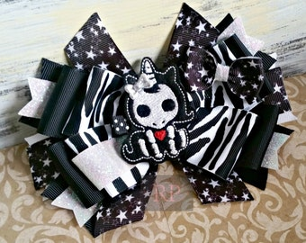 Stacked Boutique Hairbow with Skelanimal Unicorn Felt Clip Center - Magic Skull Hair Clip - Hand Sewn Bow