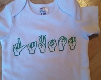 Personalized Sign language shirt - Baby boysuit, toddler, kids shirts - ASL monogram T shirt - Custom gifts for kids - New baby gift