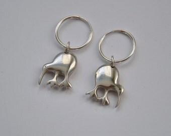 Sterling silver  Kiwi earrings .925 ~ I love NZ