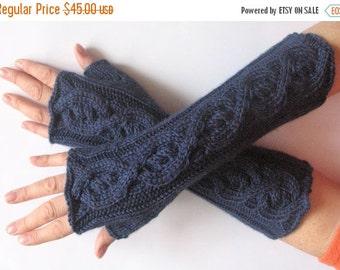 "Fingerless Gloves Mittens Dark Blue 12"" Arm Warmers, Acrylic"