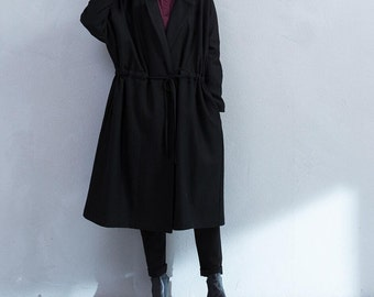 Winter bat sleeves No buttons long wool coat waist Lace wool coat