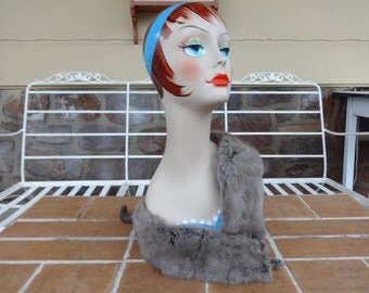 vintage women's genuine mink wrap pelts grey winter fur scarf collar art deco silver