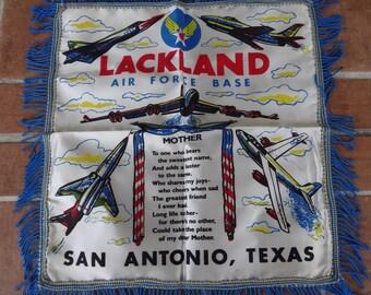 Vintage souvenir pillowcase 1940's Texas Lakeland air force craft San Antonio WWII Mother's day