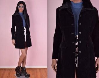 90s Black Velvet Faux Fur Collar Coat/ Medium/ 1990s/ Jacket