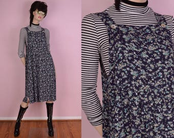 90s Floral Print Overall Dress/ US 8/ 1990s/ Flowy/ Jumper