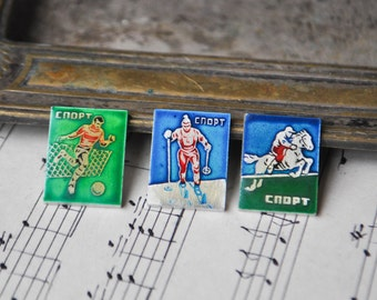 Set of 3 Vintage Soviet Russian SPORT badges,pins.
