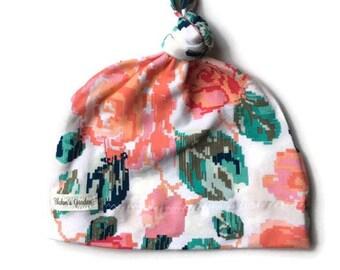 Floral Newborn Hat/ Girl Baby Hat/ Organic Cotton Hat/ Baby Knotted Hat/ Knotted Cap/ Organic Cotton Baby Hat/ Newborn Infant Hat