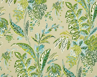 "Two 96""L x 50""W Custom Curtain Panels - Tree Leaves Floral - Blue Green Ivory Tan"