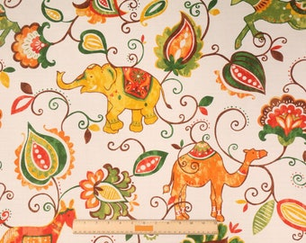 """Two 96"""" x 50""""  Custom Curtain Panels -  Elephants Camel Floral -  Red Orange Green Brown Yellow"""