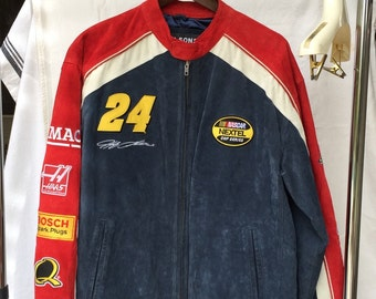 Nascar Leather Jacket JEFF GORDON size L Wilsons Leather Chase Authentics #24 with logos