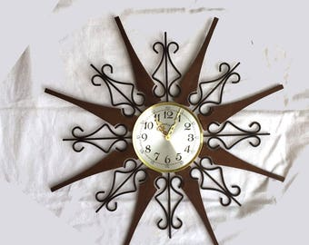 "Atomic Starburst Clock Mid Century Modern 25"" wall clock by Welby walnut and wrought iron MCM retro sunburst clock"