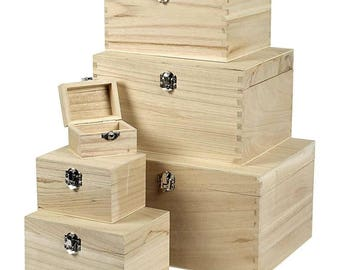 natural unfinished wooden trinket box with metal latch fastener - 6 sizes