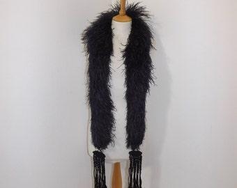 Vintage 1920s Art Deco French purple flapper marabou ostrich feather boa scarf collar long tassel detail burlesque