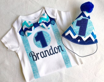 Baby Boy's Blue Chevron 1st Birthday Party Hat and Bodysuit Outfit