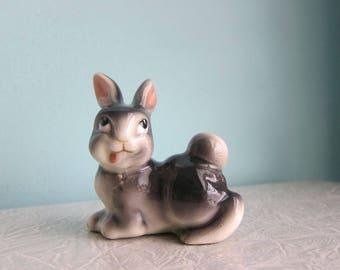 Vintage Bunny Figurine, Silly Rabbit, Easter Bunny, Kitschy Mischievous Bunny Rabbit, Little Bunny Foo Foo, 1950s Ceramic Bunny Rabbit